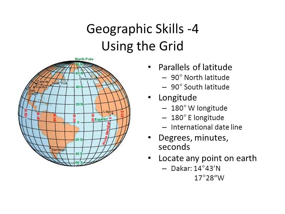 Geographic Skills -4 Using the Grid Parallels of latitude – 90° North latitude – 90° South latitude Longitude – 180° W longitude – 180° E longitude –