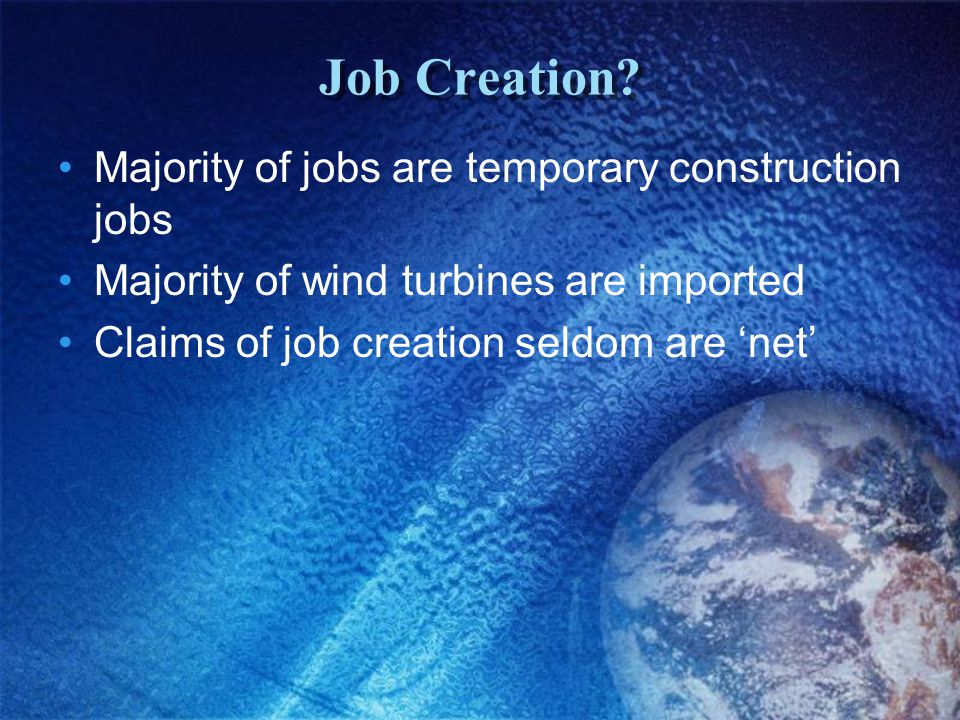 Job Creation.