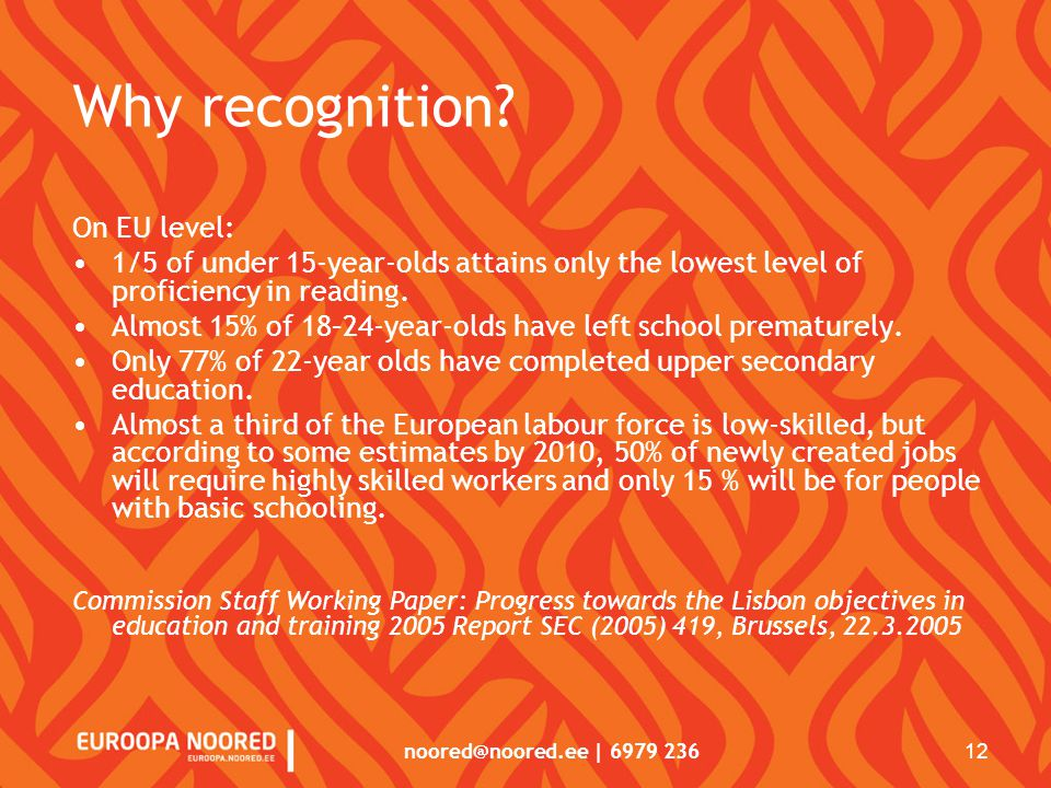 noored@noored.ee | 6979 236 12 Why recognition.