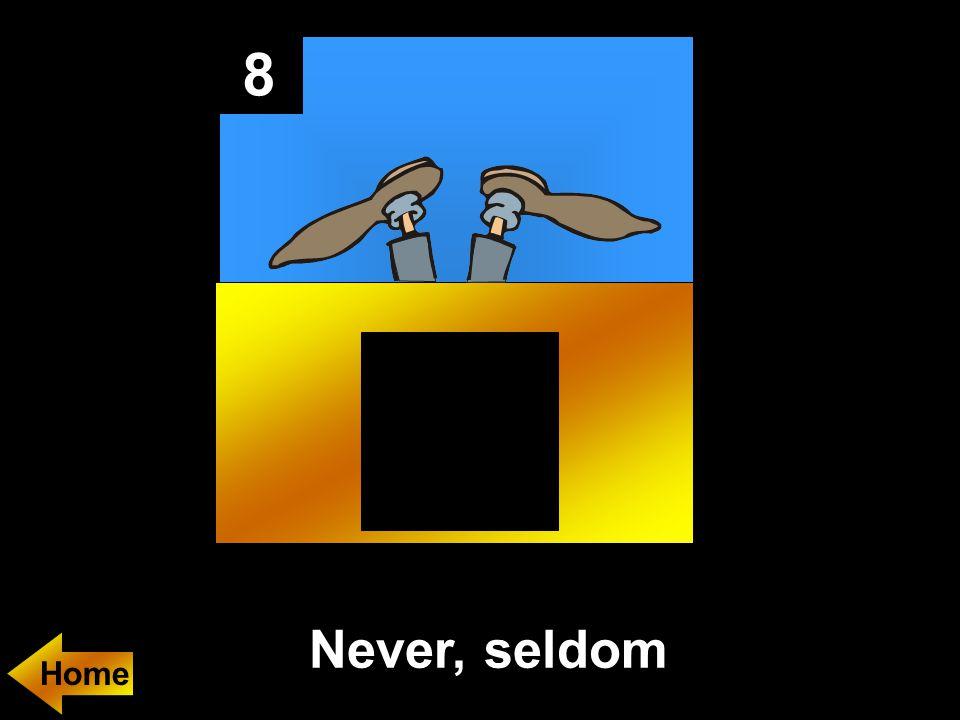 8 Never, seldom