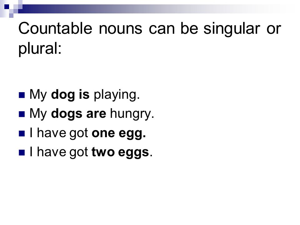 Countable nouns can be singular or plural: My dog is playing. My dogs are hungry. I have got one egg. I have got two eggs.