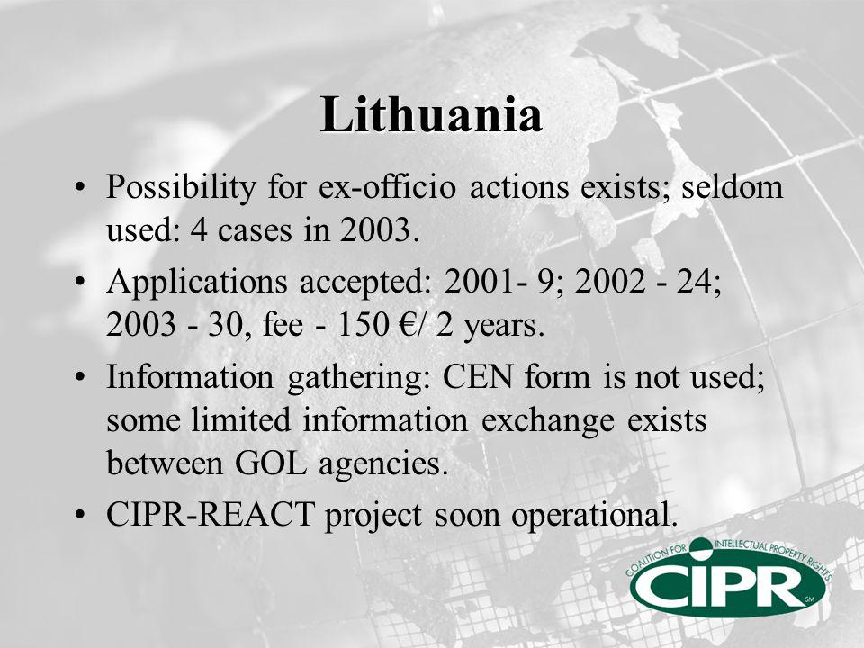 Estonia Possibility for ex-officio actions exists; seldom used.