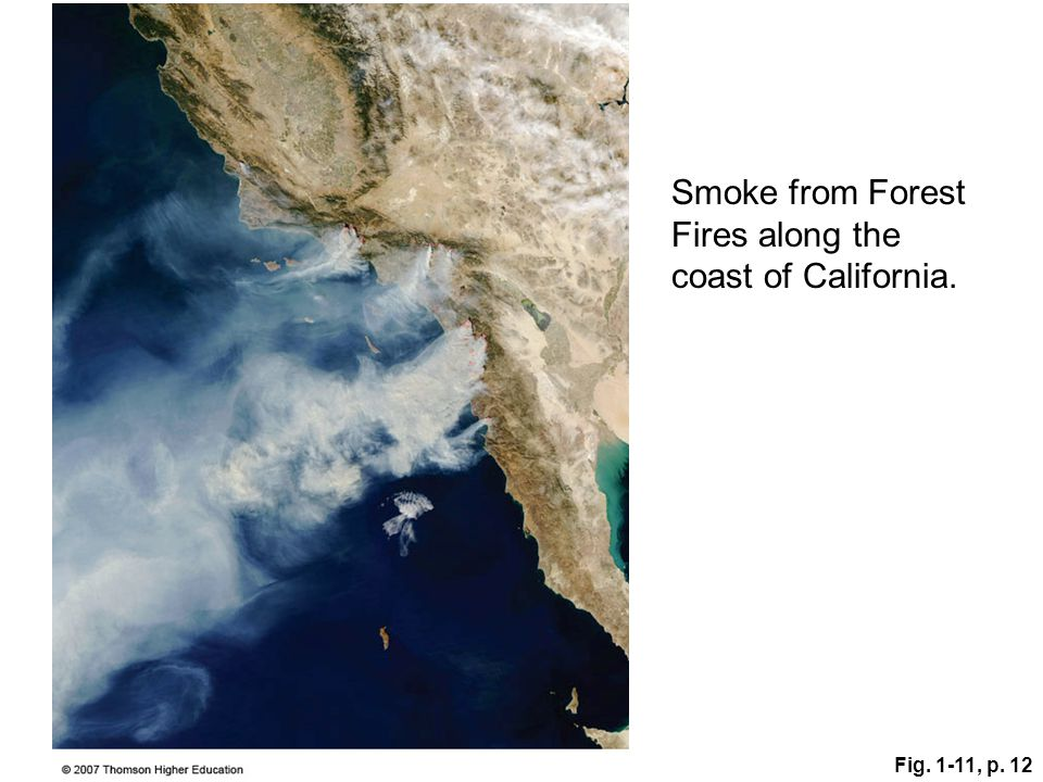Fig. 1-11, p. 12 Smoke from Forest Fires along the coast of California.