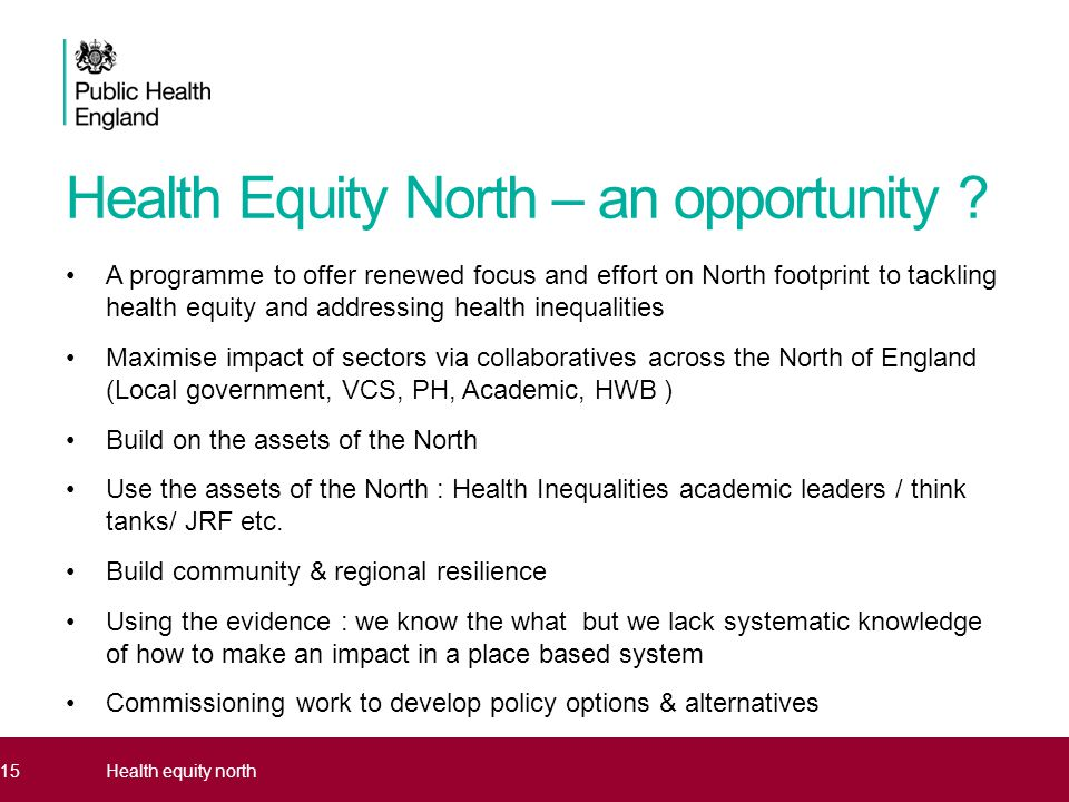 Health Equity North – an opportunity .