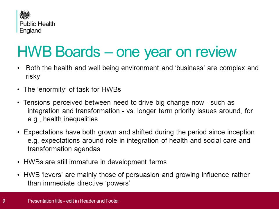 HWB Boards – one year on review Both the health and well being environment and 'business' are complex and risky The 'enormity' of task for HWBs Tensions perceived between need to drive big change now - such as integration and transformation - vs.