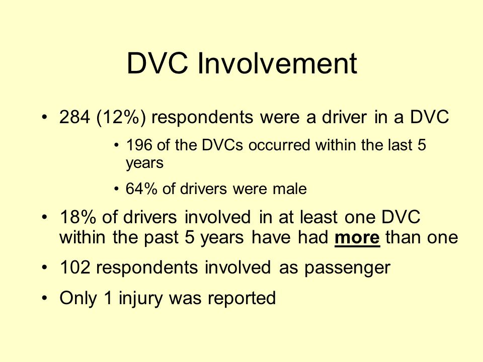 DVC Involvement 284 (12%) respondents were a driver in a DVC 196 of the DVCs occurred within the last 5 years 64% of drivers were male 18% of drivers involved in at least one DVC within the past 5 years have had more than one 102 respondents involved as passenger Only 1 injury was reported