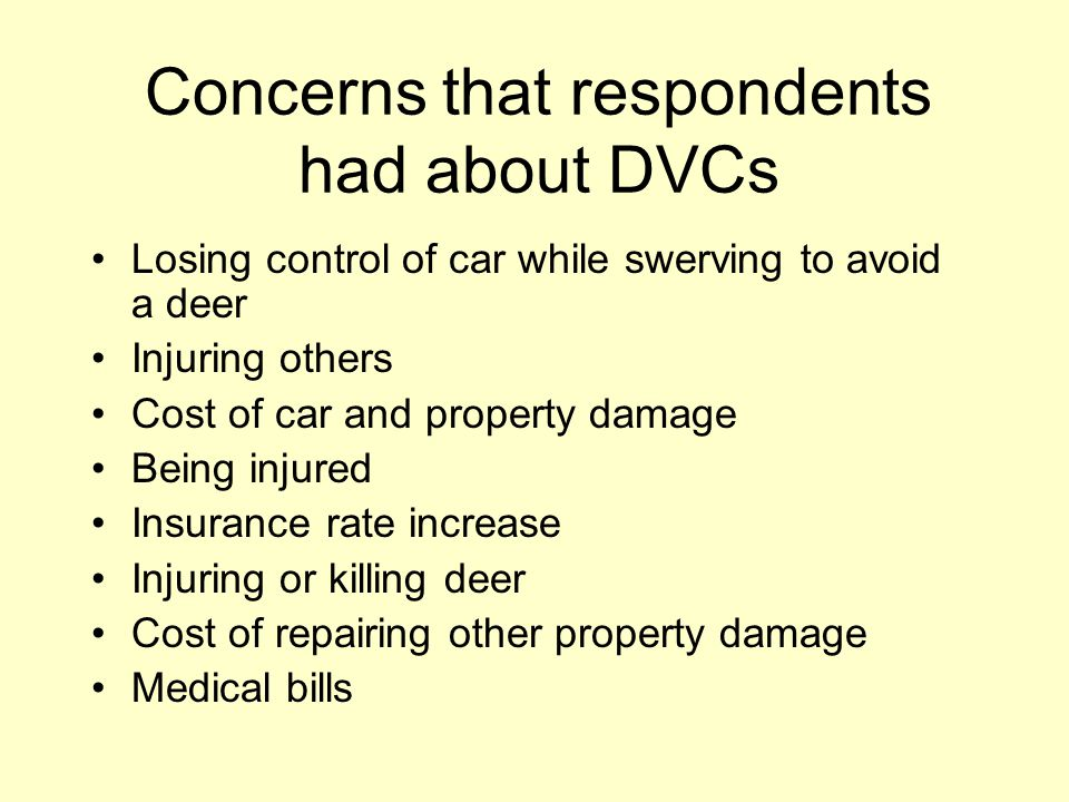 Concerns that respondents had about DVCs Losing control of car while swerving to avoid a deer Injuring others Cost of car and property damage Being injured Insurance rate increase Injuring or killing deer Cost of repairing other property damage Medical bills