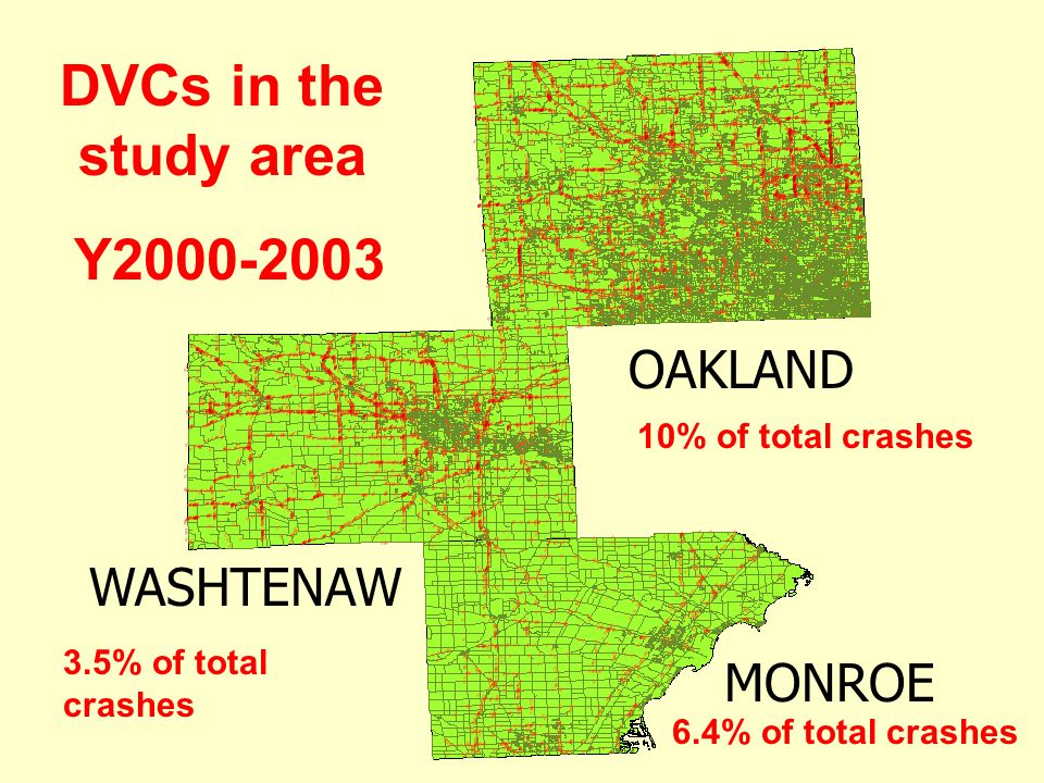 MONROE OAKLAND WASHTENAW DVCs in the study area Y2000-2003 6.4% of total crashes 10% of total crashes 3.5% of total crashes