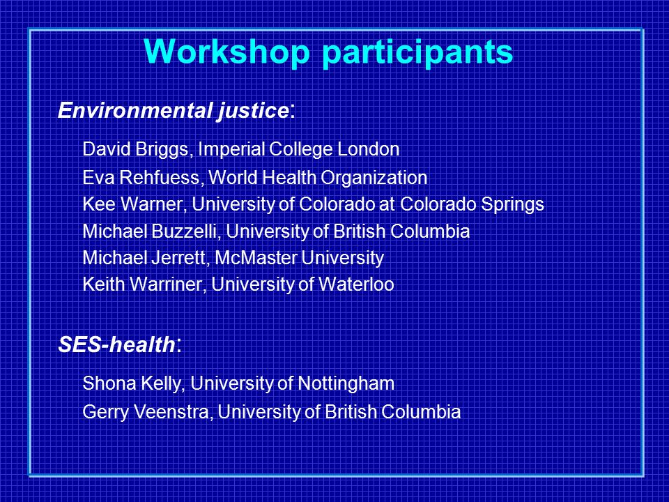 Workshop participants Environmental justice : David Briggs, Imperial College London Eva Rehfuess, World Health Organization Kee Warner, University of Colorado at Colorado Springs Michael Buzzelli, University of British Columbia Michael Jerrett, McMaster University Keith Warriner, University of Waterloo SES-health : Shona Kelly, University of Nottingham Gerry Veenstra, University of British Columbia