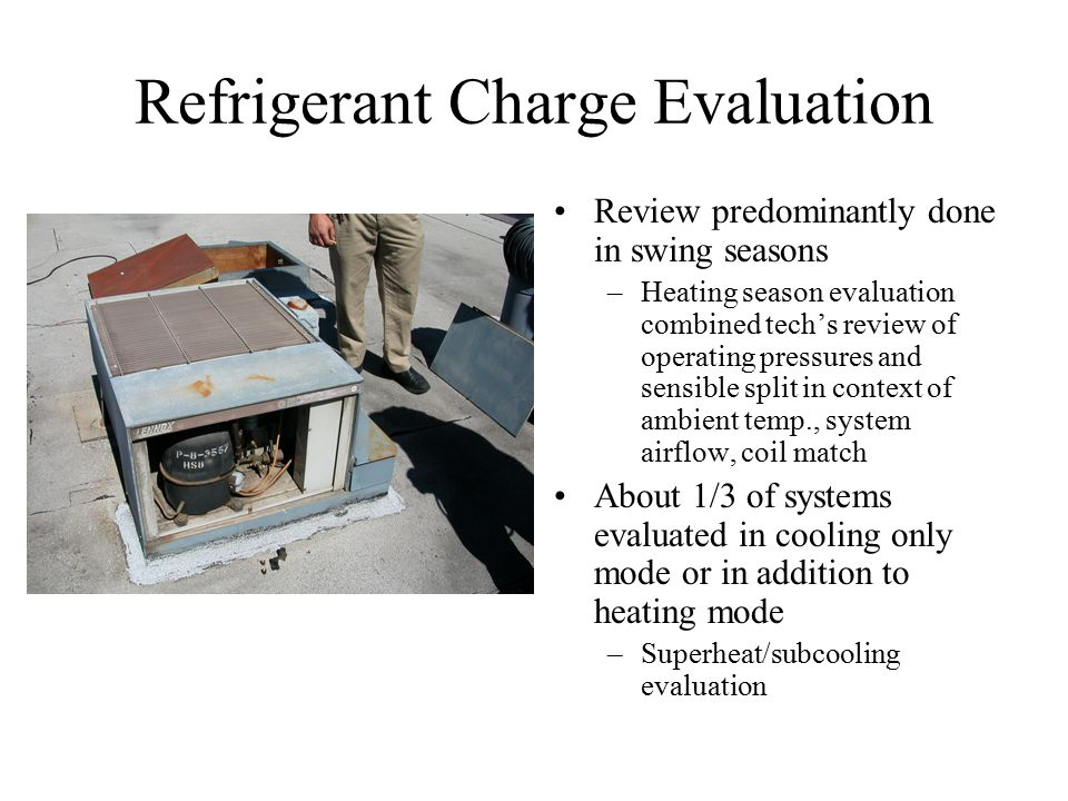 Refrigerant Charge Evaluation Review predominantly done in swing seasons –Heating season evaluation combined tech's review of operating pressures and sensible split in context of ambient temp., system airflow, coil match About 1/3 of systems evaluated in cooling only mode or in addition to heating mode –Superheat/subcooling evaluation