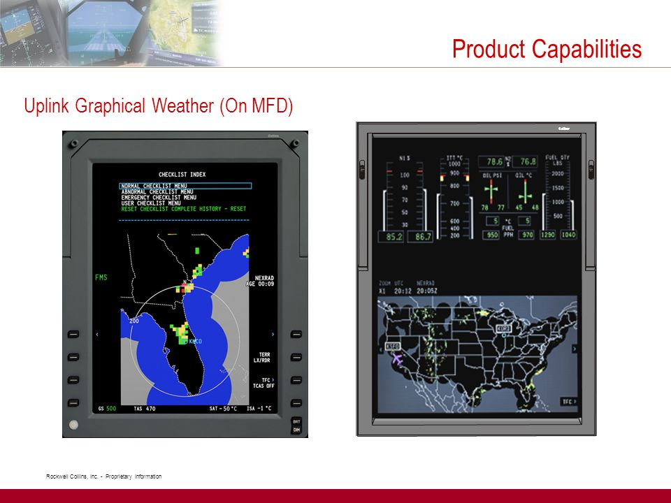 Rockwell Collins, Inc. - Proprietary Information Uplink Graphical Weather (On MFD) Product Capabilities