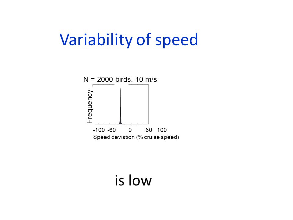 Variability of speed Frequency -100 -60 0 60 100 Speed deviation (% cruise speed) N = 2000 birds, 10 m/s is low