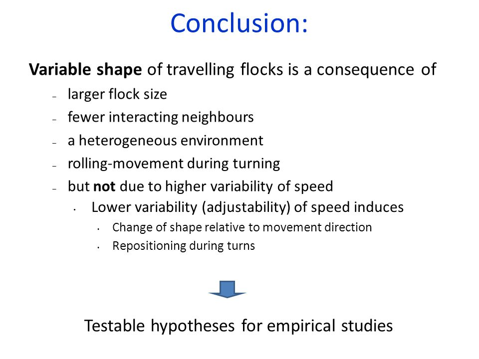 Conclusion: Variable shape of travelling flocks is a consequence of – larger flock size – fewer interacting neighbours – a heterogeneous environment – rolling-movement during turning – but not due to higher variability of speed Lower variability (adjustability) of speed induces Change of shape relative to movement direction Repositioning during turns Testable hypotheses for empirical studies