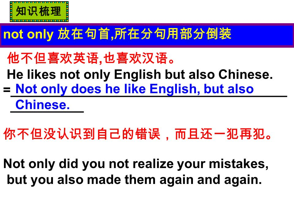 not only 放在句首, 所在分句用部分倒装 他不但喜欢英语, 也喜欢汉语。 He likes not only English but also Chinese.