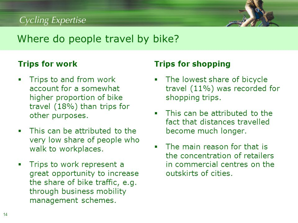 14 Where do people travel by bike.