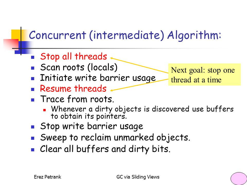 Erez PetrankGC via Sliding Views14 Concurrent (intermediate) Algorithm: Stop all threads Scan roots (locals) Initiate write barrier usage Resume threads Trace from roots.