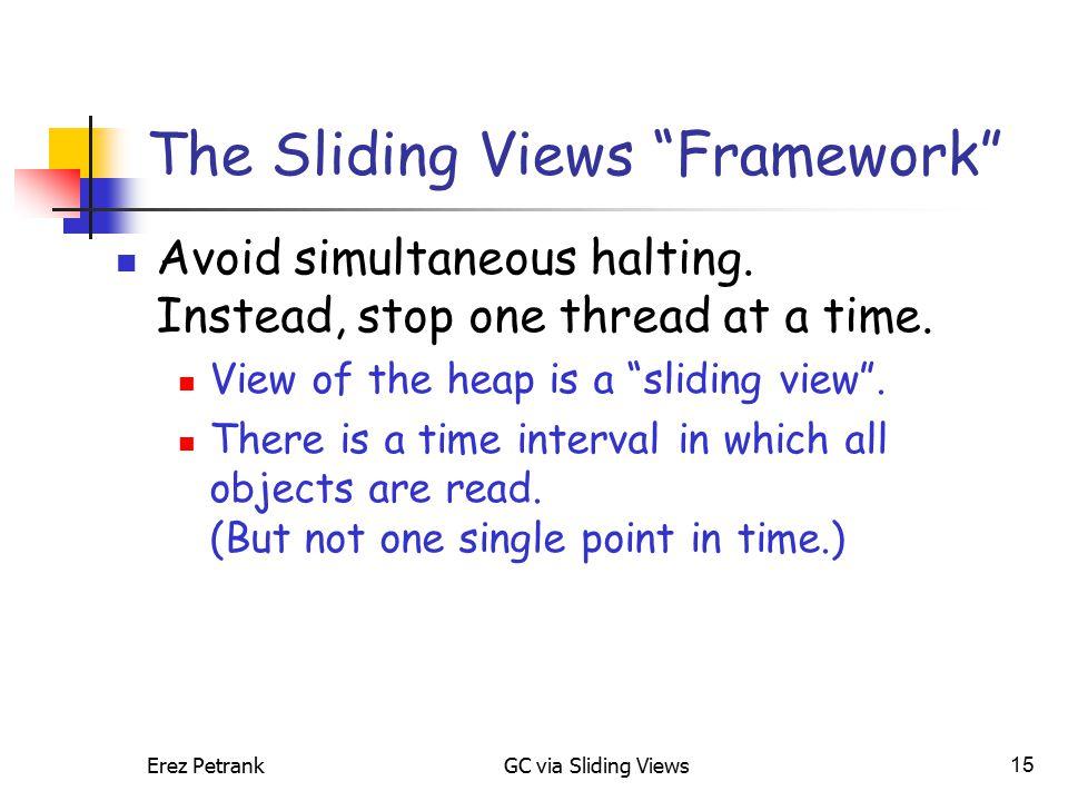 "Erez PetrankGC via Sliding Views15 The Sliding Views ""Framework"" Avoid simultaneous halting. Instead, stop one thread at a time. View of the heap is a"