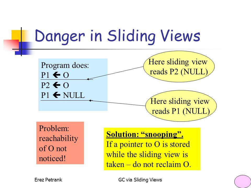 Erez PetrankGC via Sliding Views16 Danger in Sliding Views Program does: P1  O P2  O P1  NULL Here sliding view reads P2 (NULL) Here sliding view r