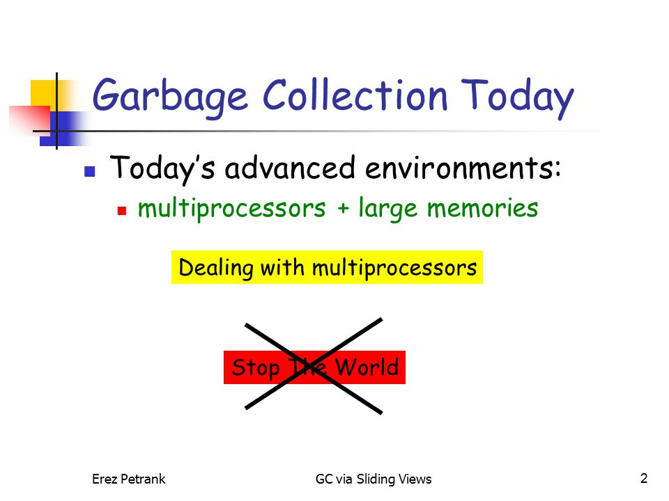 Erez PetrankGC via Sliding Views2 Garbage Collection Today Today's advanced environments: multiprocessors + large memories Dealing with multiprocessors Stop The World