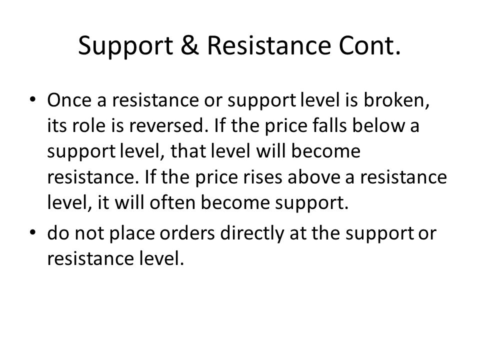 Support & Resistance Cont. Once a resistance or support level is broken, its role is reversed.