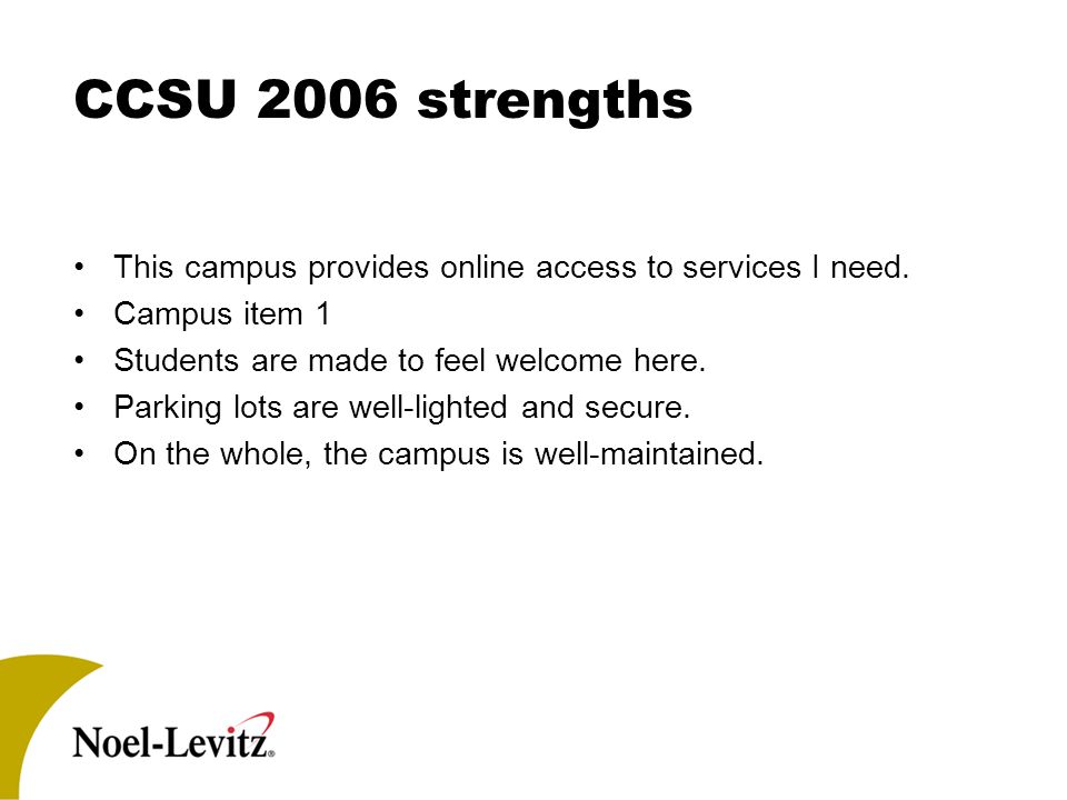 CCSU 2006 strengths This campus provides online access to services I need.