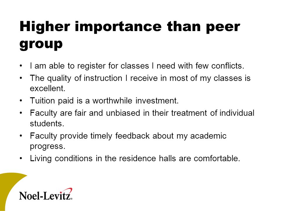Higher importance than peer group I am able to register for classes I need with few conflicts.