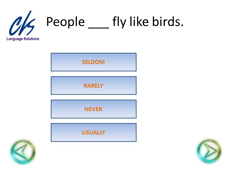 People ___ fly like birds. USUALLY RARELY SELDOM NEVER
