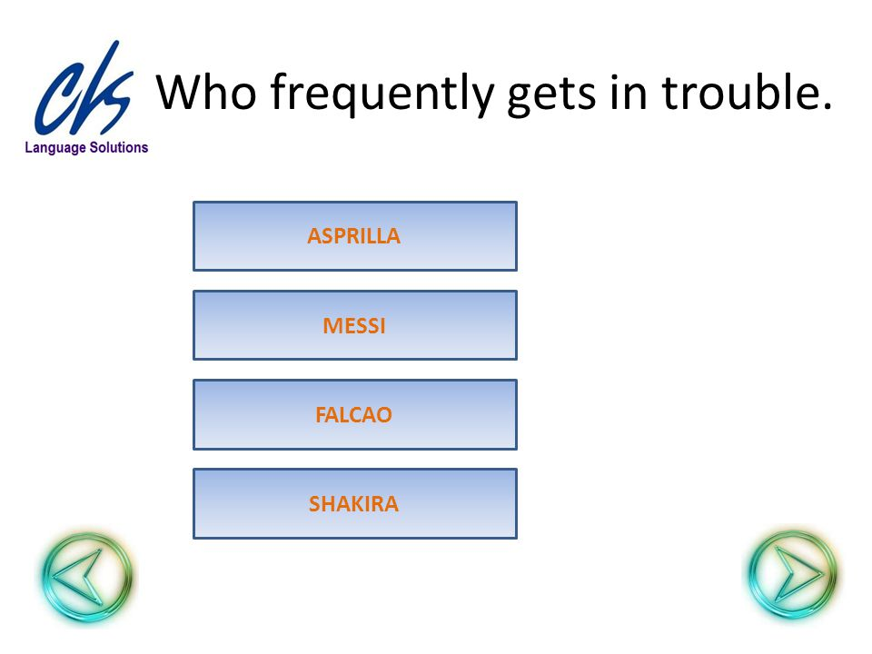 Who frequently gets in trouble. ASPRILLA MESSI FALCAO SHAKIRA