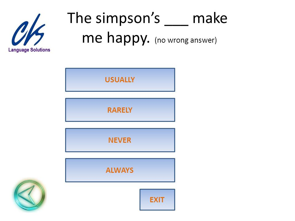The simpson's ___ make me happy. (no wrong answer) ALWAYS RARELY USUALLY NEVER EXIT
