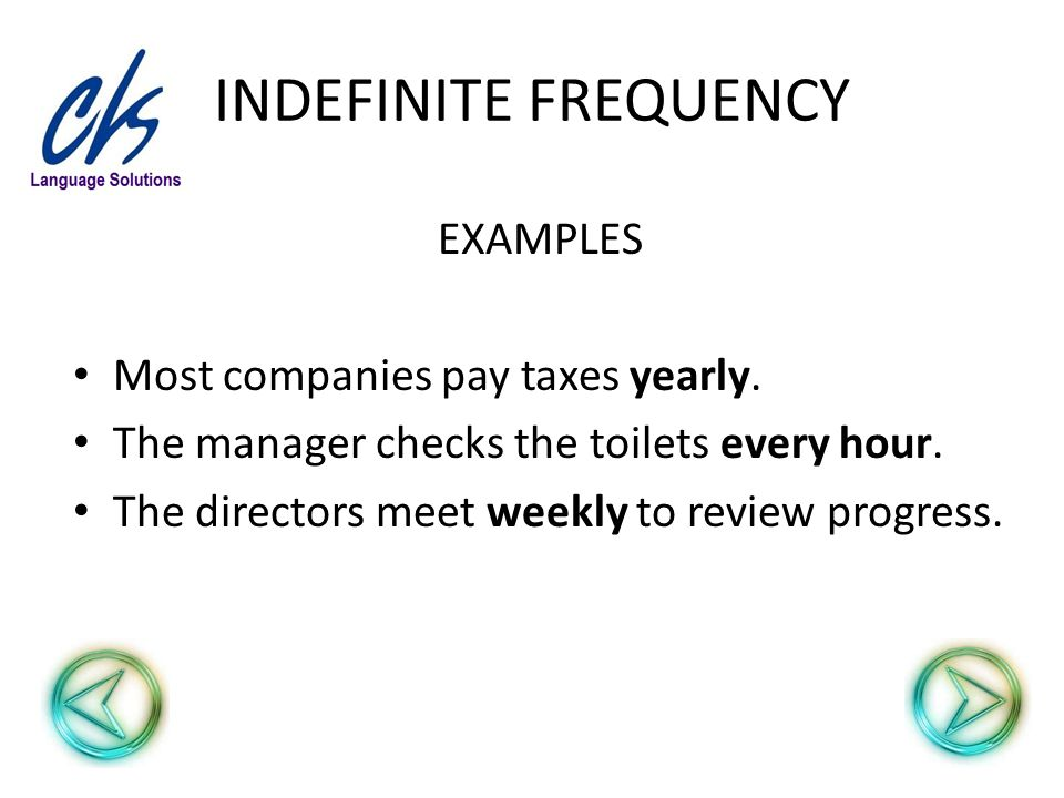 INDEFINITE FREQUENCY EXAMPLES Most companies pay taxes yearly. The manager checks the toilets every hour. The directors meet weekly to review progress
