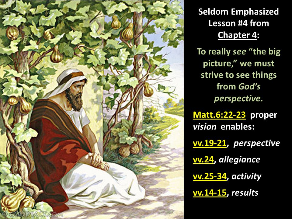 """Seldom Emphasized Lesson #4 from Chapter 4: To really see """"the big picture,"""" we must strive to see things from God's perspective. Matt.6:22-23 proper"""