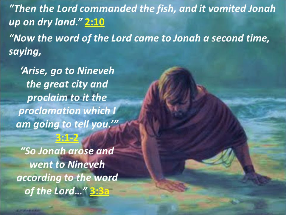 Then the Lord commanded the fish, and it vomited Jonah up on dry land. 2:10 Now the word of the Lord came to Jonah a second time, saying, 'Arise, go to Nineveh the great city and proclaim to it the proclamation which I am going to tell you.' 3:1-2 So Jonah arose and went to Nineveh according to the word of the Lord… 3:3a