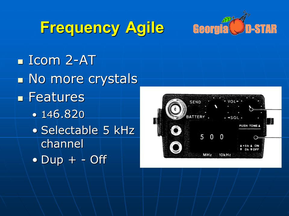 Frequency Agile Icom 2-AT Icom 2-AT No more crystals No more crystals Features Features 14 6.82 014 6.82 0 Selectable 5 kHz channelSelectable 5 kHz ch