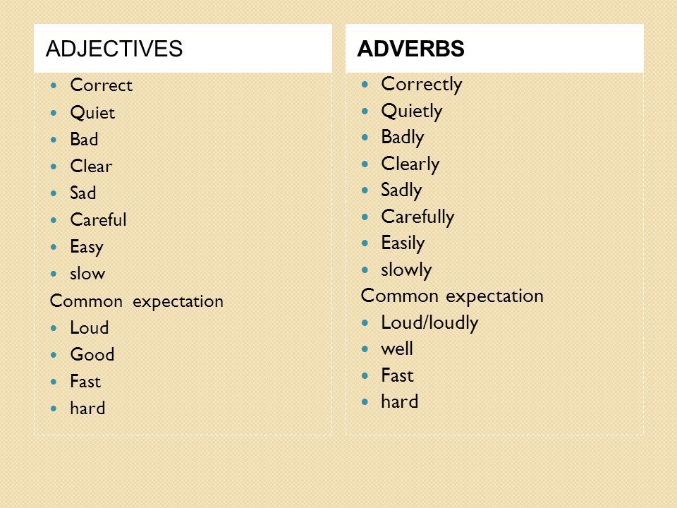 ADJECTIVESADVERBS Correct Quiet Bad Clear Sad Careful Easy slow Common expectation Loud Good Fast hard Correctly Quietly Badly Clearly Sadly Carefully