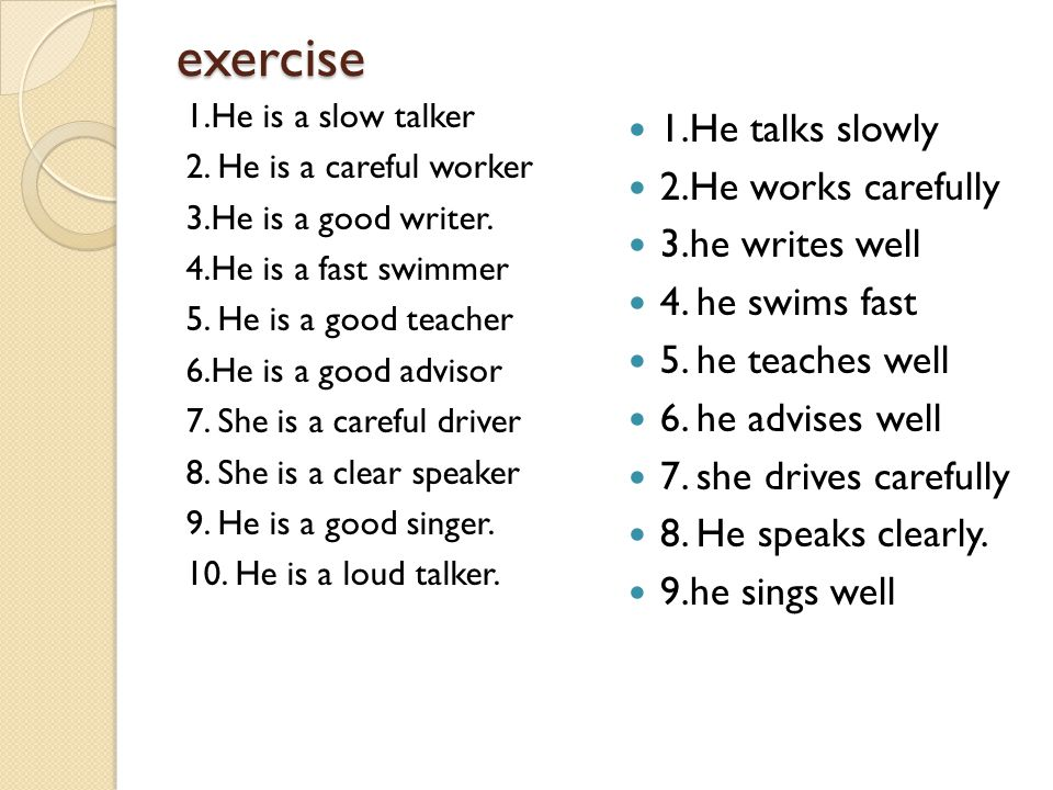 exercise 1.He is a slow talker 2. He is a careful worker 3.He is a good writer. 4.He is a fast swimmer 5. He is a good teacher 6.He is a good advisor