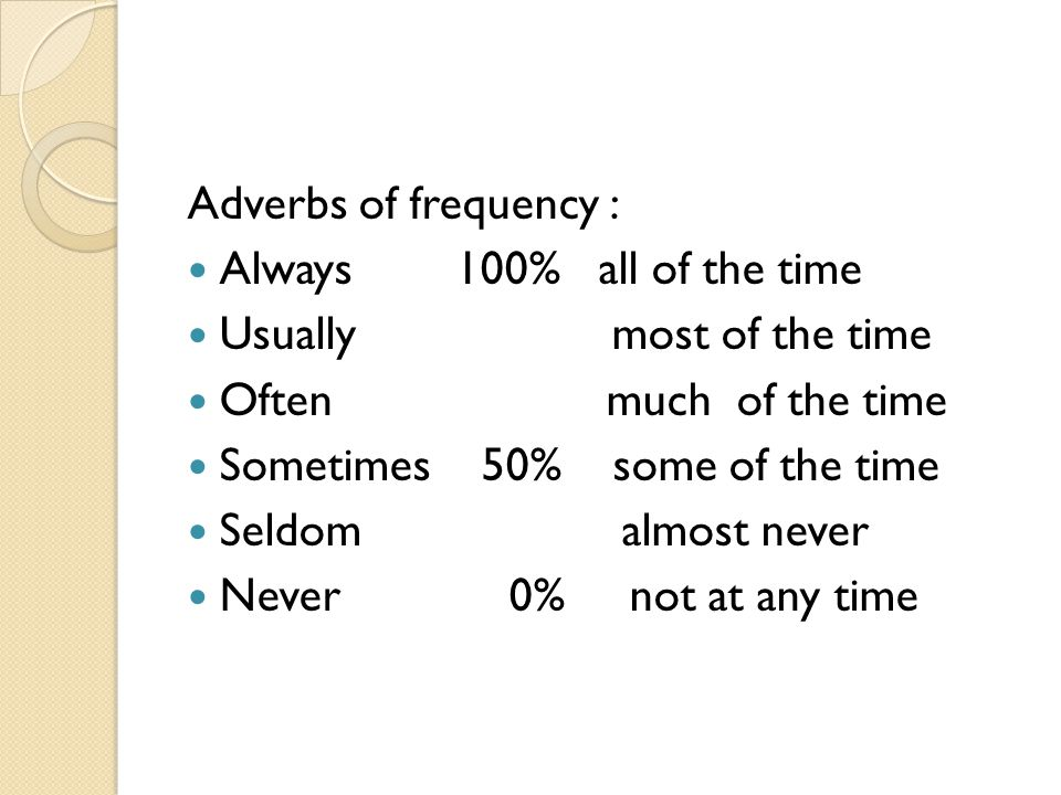POSITION ADVERB OF FREQUENCY 1.After to be They are never on time 2.