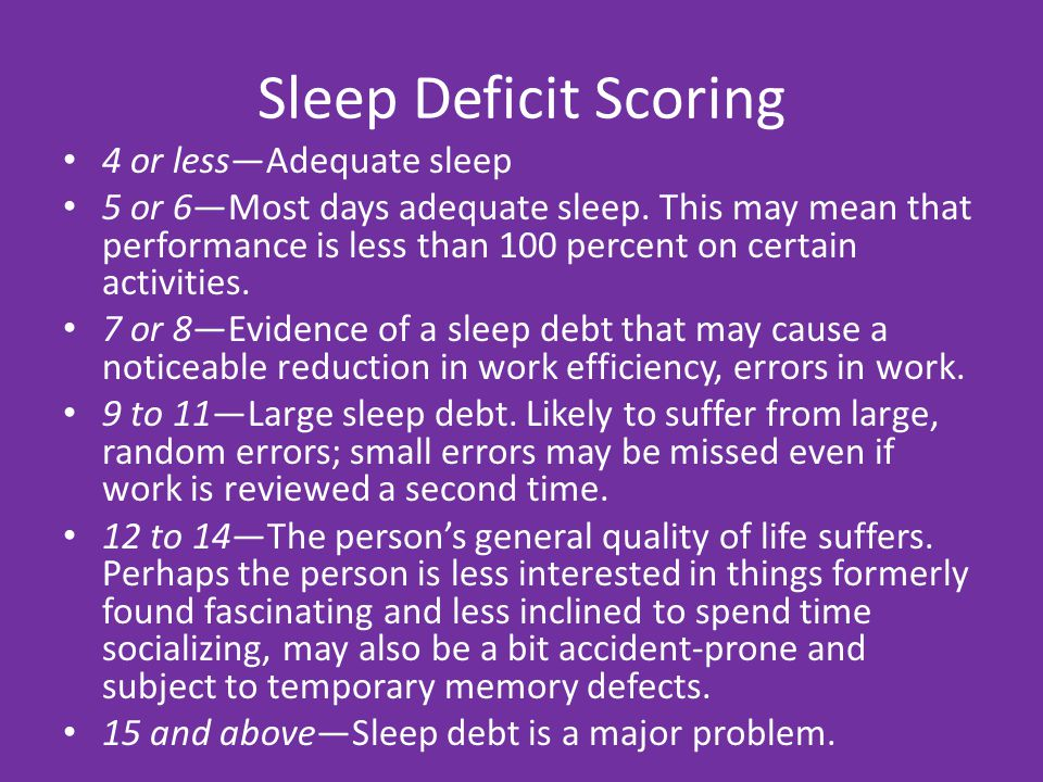Sleep Deficit Scoring 4 or less—Adequate sleep 5 or 6—Most days adequate sleep.