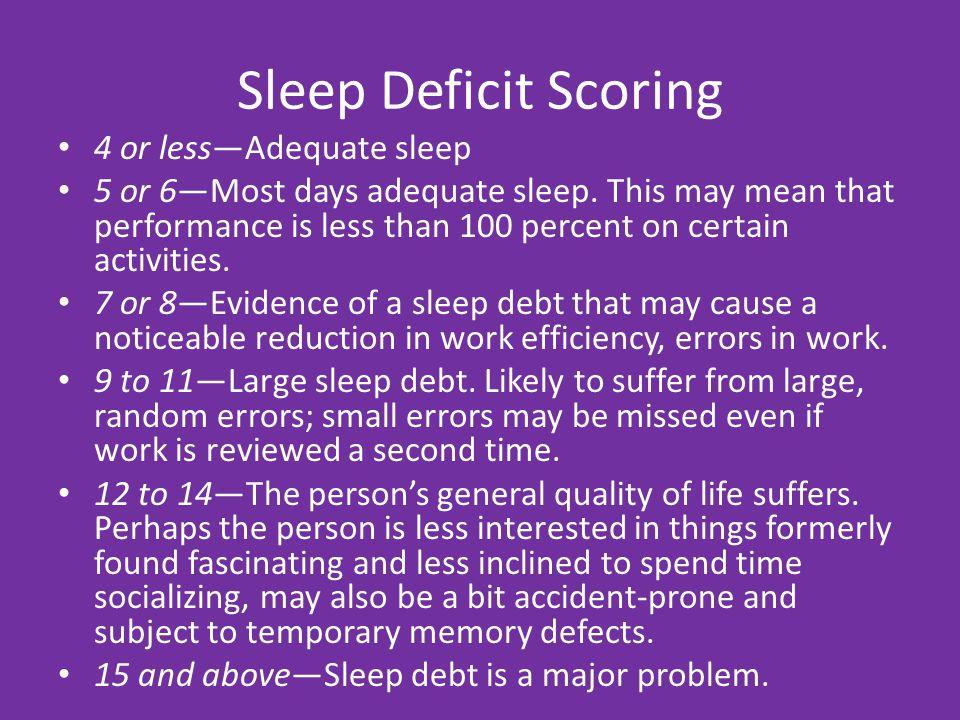 Sleep Deprivation Most adults need 7.5 – 9 hours of nightly sleep.