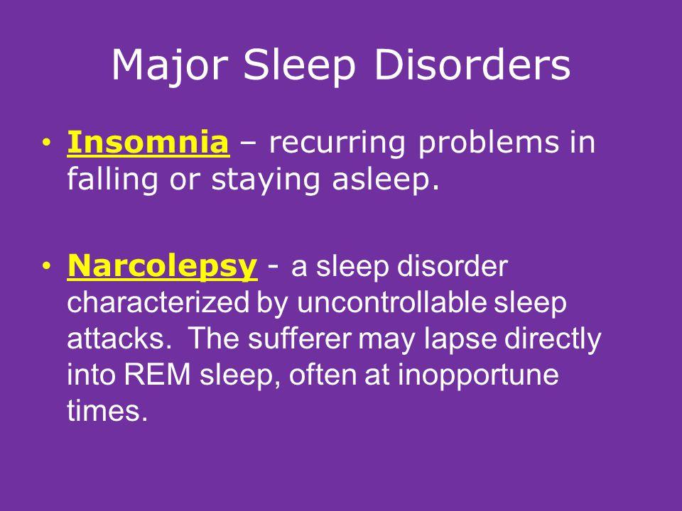 Major Sleep Disorders Sleep Apnea – a sleep disorder characterized by temporary cessations of breathing during sleep and repeated momentary awakenings.