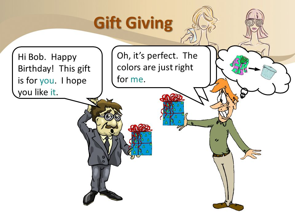 Subject and Object Pronouns; Direct and Indirect Objects Gifting and Re-Gifting