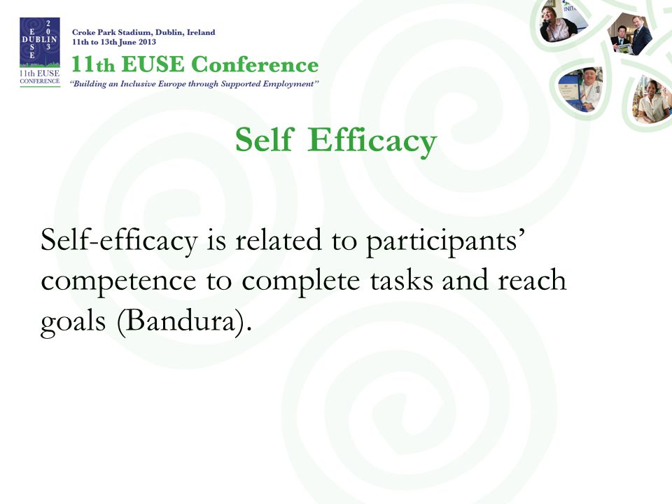 Self Efficacy Self-efficacy is related to participants' competence to complete tasks and reach goals (Bandura).