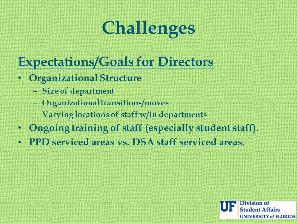 Challenges Expectations/Goals for Directors Organizational Structure – Size of department – Organizational transitions/moves – Varying locations of staff w/in departments Ongoing training of staff (especially student staff).