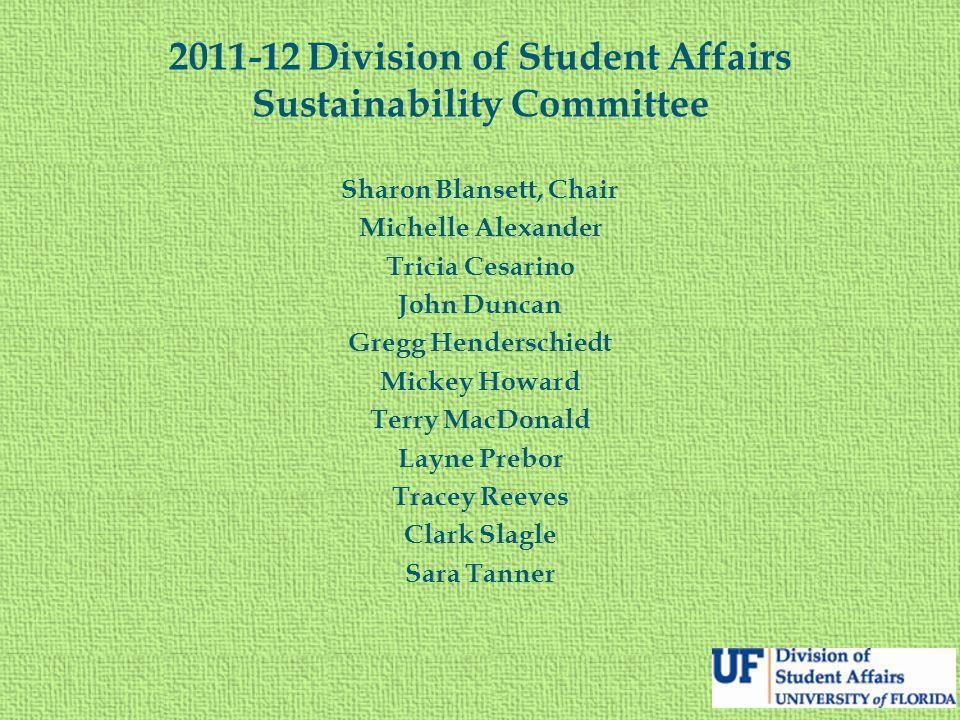 2011-12 Division of Student Affairs Sustainability Committee Sharon Blansett, Chair Michelle Alexander Tricia Cesarino John Duncan Gregg Henderschiedt