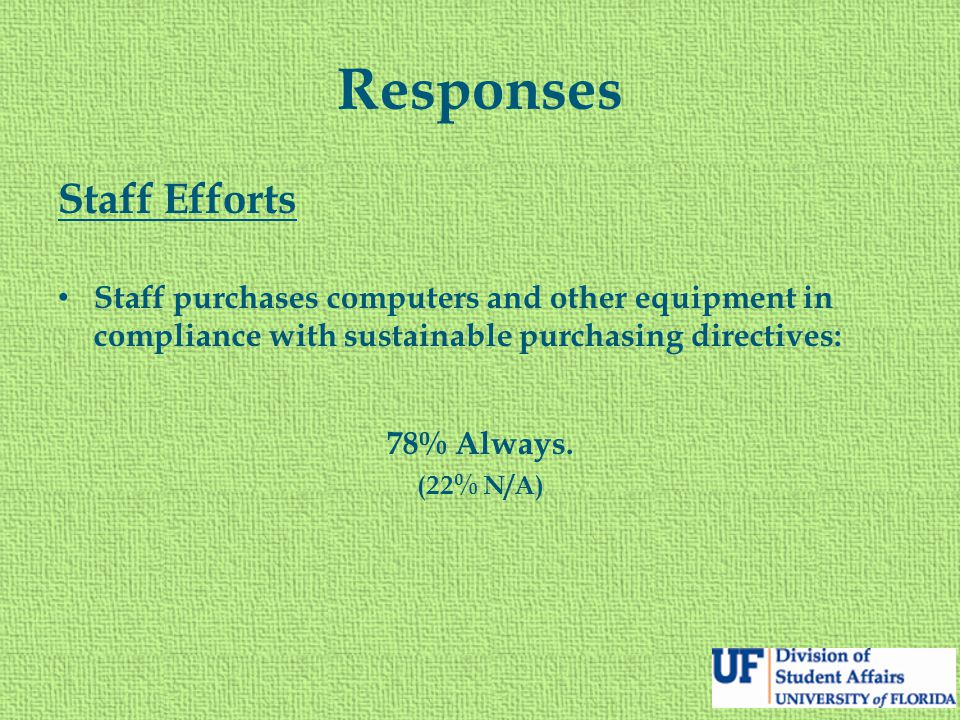 Responses Staff Efforts Staff purchases computers and other equipment in compliance with sustainable purchasing directives: 78% Always.