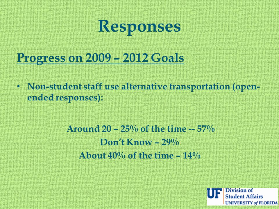 Responses Progress on 2009 – 2012 Goals Non-student staff use alternative transportation (open- ended responses): Around 20 – 25% of the time -- 57% D