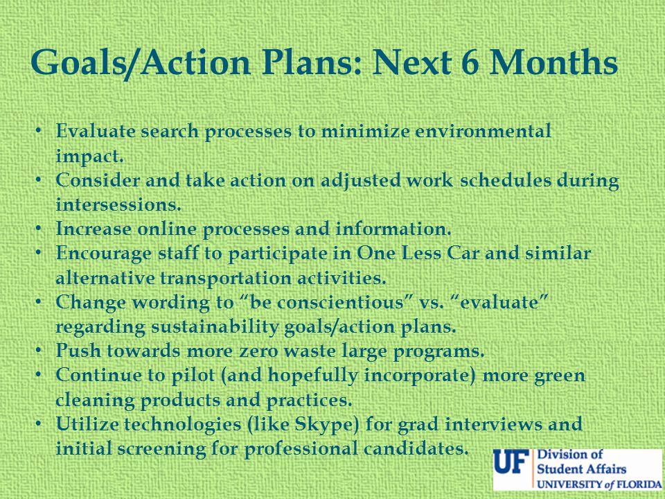 Goals/Action Plans: Next 6 Months Evaluate search processes to minimize environmental impact.