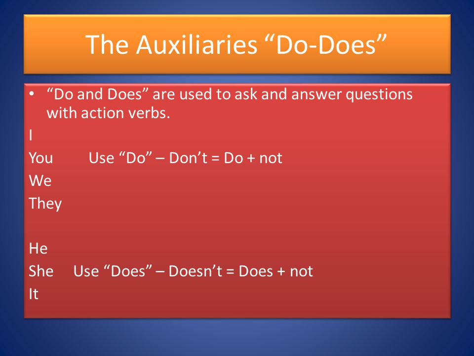 The Auxiliaries Do-Does Do and Does are used to ask and answer questions with action verbs.