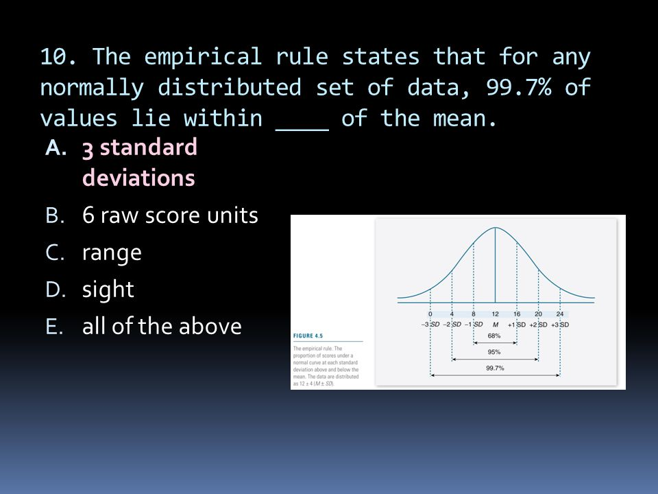 10. The empirical rule states that for any normally distributed set of data, 99.7% of values lie within ____ of the mean. A. 3 standard deviations B.