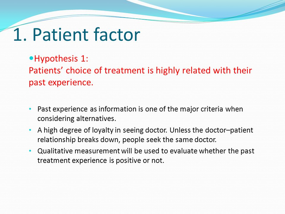 1. Patient factor Hypothesis 1: Patients' choice of treatment is highly related with their past experience. Past experience as information is one of t