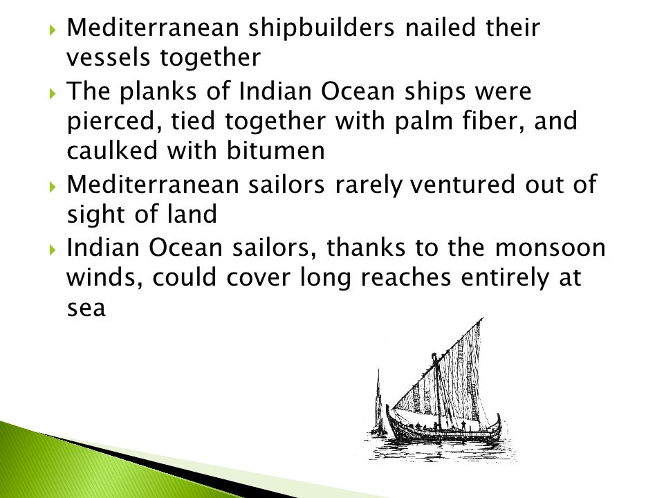  These technological differences prove that the world of the Indian Ocean developed differently from the world of the Mediterranean Sea, where the Phoenicians and Greeks established colonies that maintained contact with their home cities